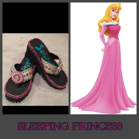 Disney inpired Swarovski crystal  flip flop SLEEPING PRINCESS