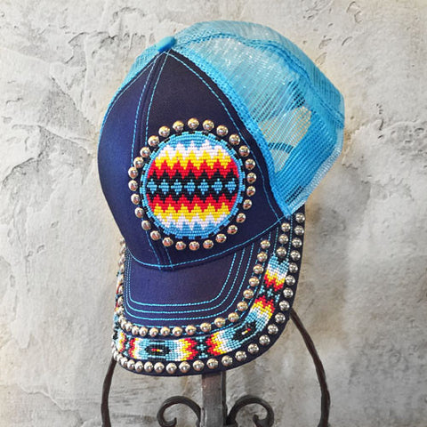 Aztec Circle Beaded Blue Cap