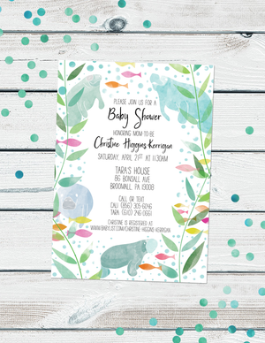 Manatee Baby Shower Invitations