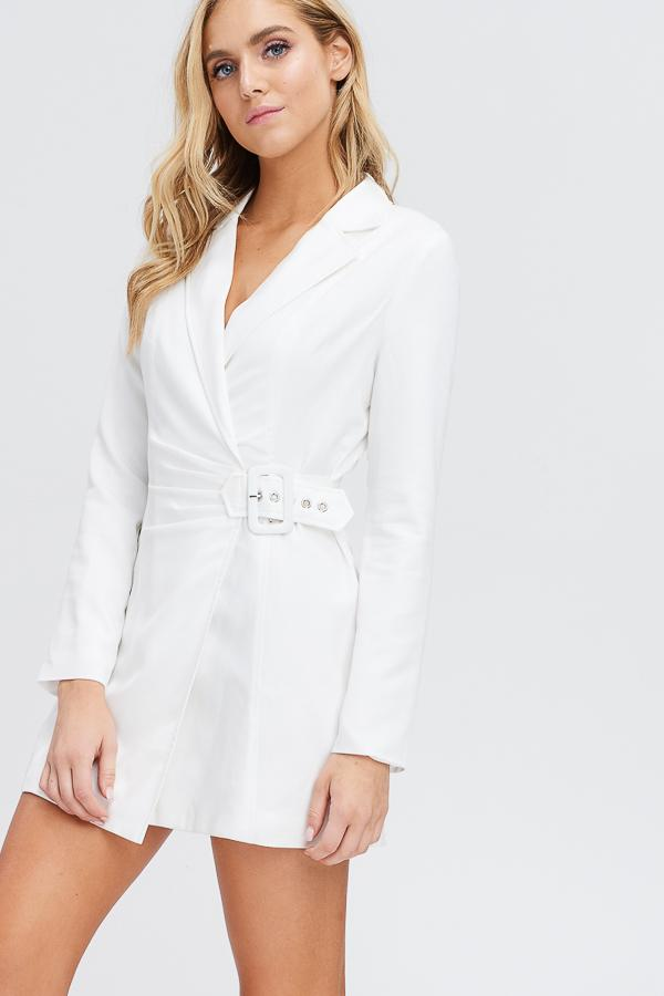 Front Belt Blazer Dress