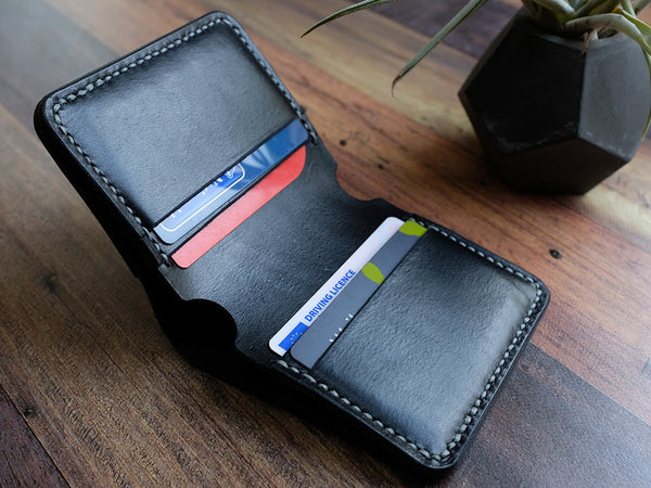 Italian Leather Bi-fold Wallet - Black