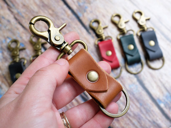 Italian Leather Keyring with Clip