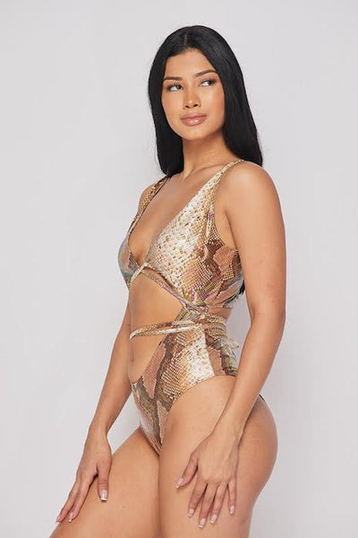 Cut out Snakeskin Bodysuit
