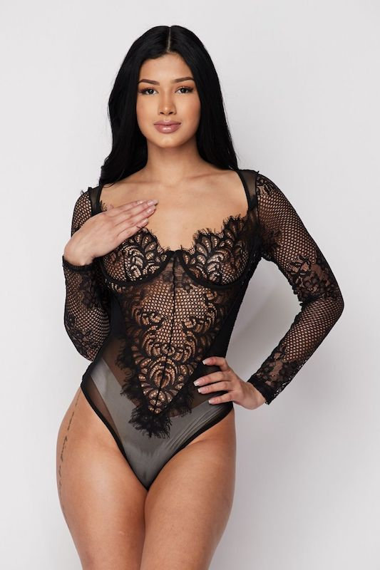 Long Sleeve Lace Corset Bodysuit