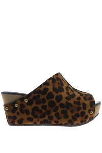 Leopard Open Toe Wedge Sandal