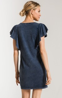 The Jersey Denim Ruffle Sleeve Dres