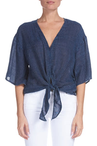 Tie Front Top with Stripes