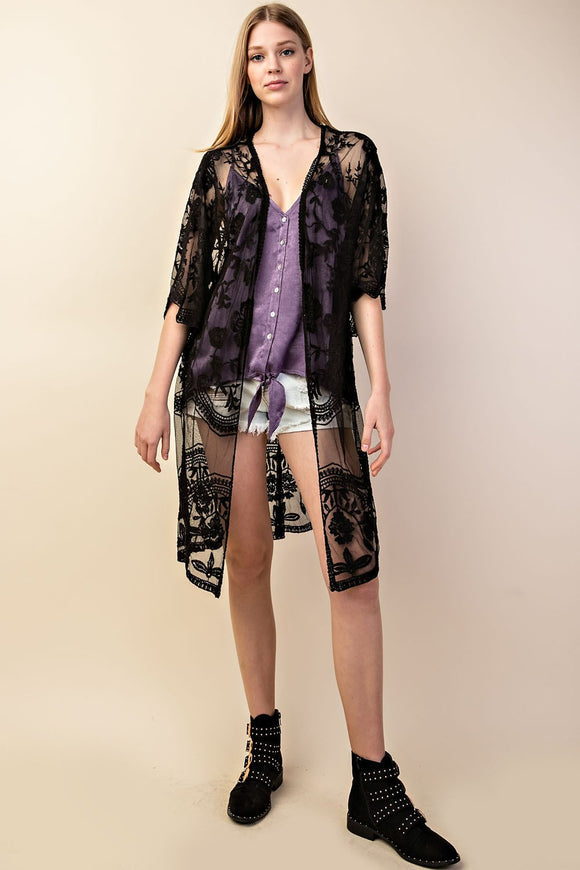 Floral Embroidery Lace Cardigan