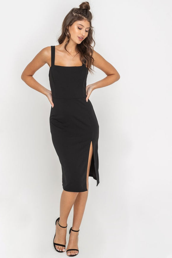 Fitted Side Slit Midi Dress