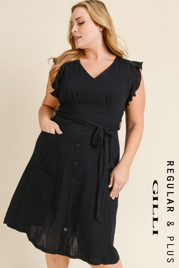 Waist Tie Dress With Flutter Sleeves
