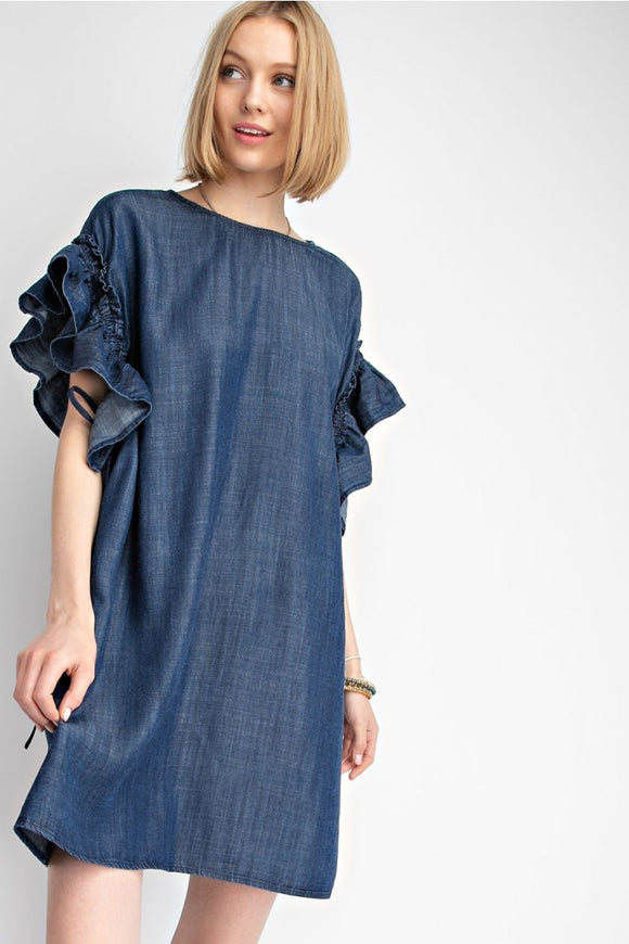Ruffled Sleeve Denim Dress