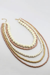 Multi Layered Wooden Bead Necklace