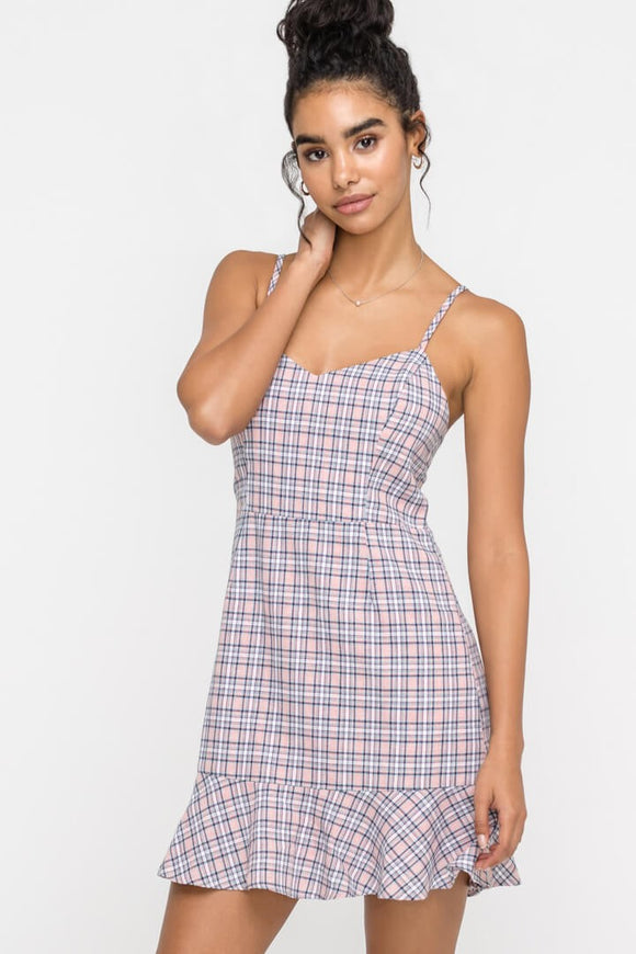 Plaid Ruffle Cocktail Dress