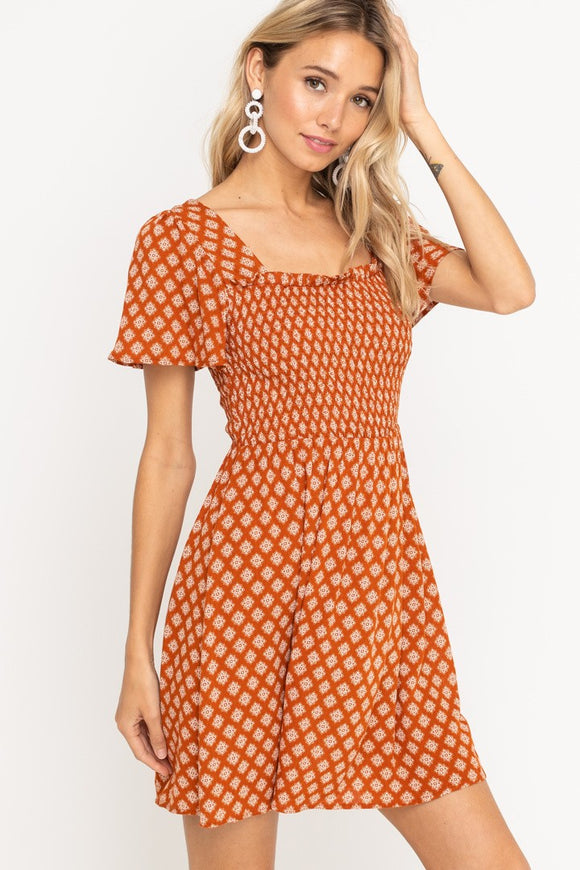Smocked Square Neck Dress