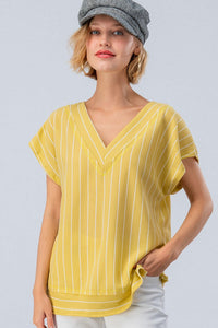 Textured Pinstripe V-Neck Top