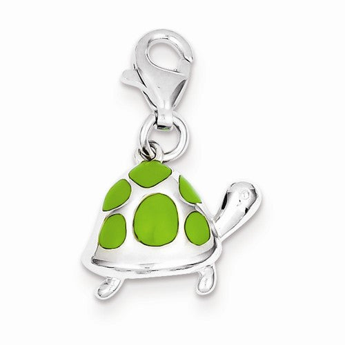 Sterling Silver Green Enameled Turtle Charm