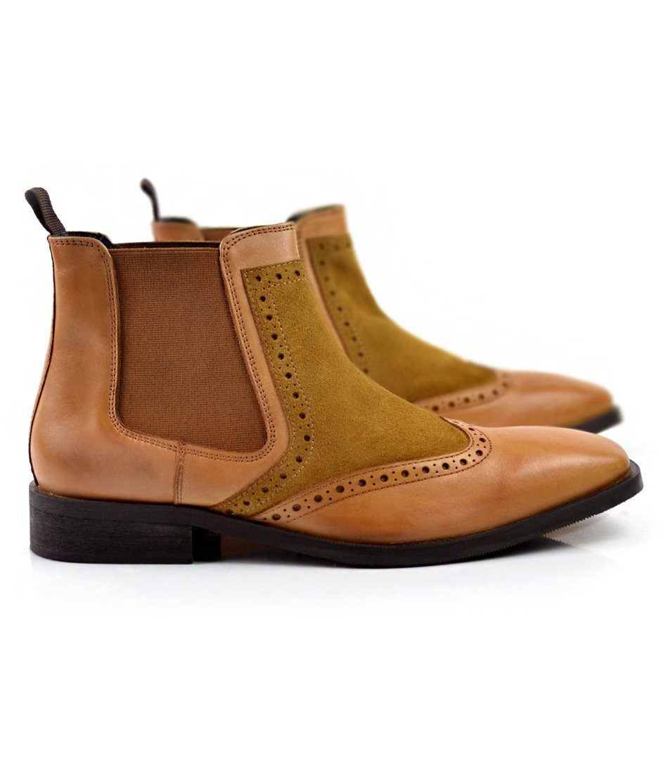 Tan Wing Tip Chelsea Boot - The Dapper Man