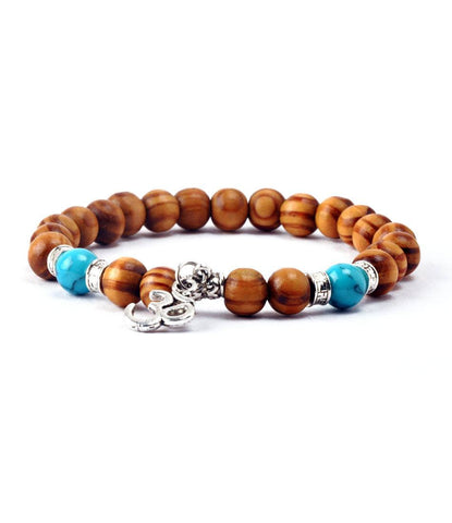 Natural Wood & Sliver Om Charm Bracelet - The Dapper Man