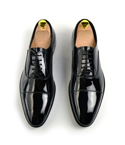 Black Full Patent Oxfords - The Dapper Man