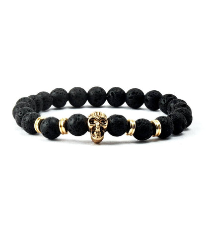 Black Lavastone & Golden Skull Charm Bracelet - The Dapper Man