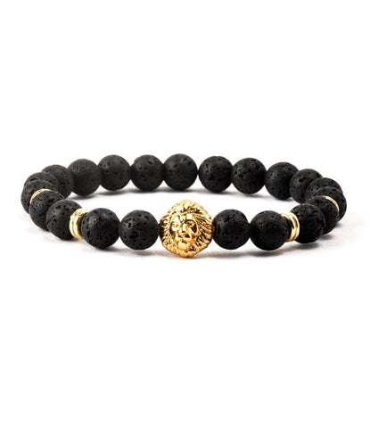 Regal Lavastone & Golden Lion Charm Bracelet - The Dapper Man
