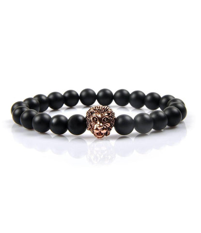 Regal Agate & Rose Gold Lion Charm Bracelet - The Dapper Man