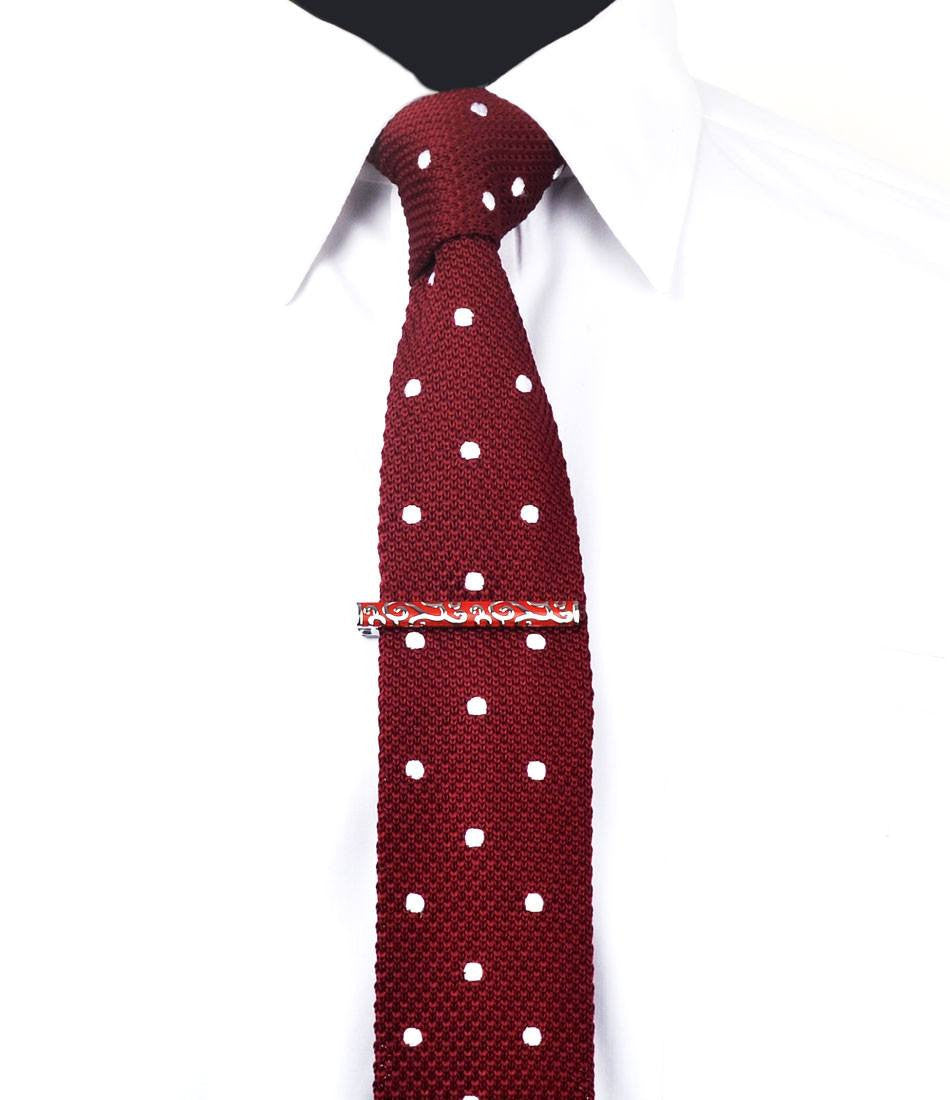 Silver & Crimson Pattern Tie Bar - The Dapper Man