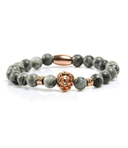 Grey Jasper Rose Gold Lion Charm Bracelet - The Dapper Man