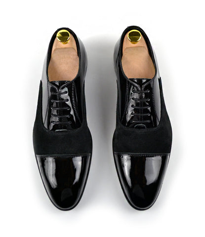 Black Patent Combination Oxfords - The Dapper Man