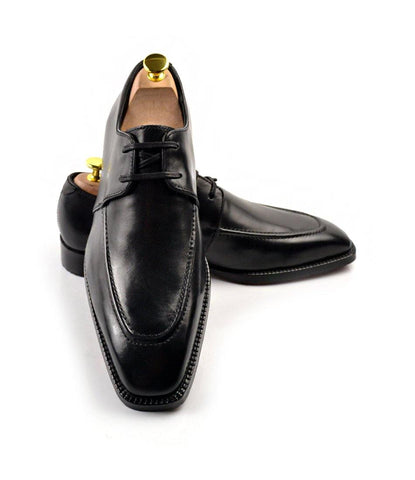 Apron Toe Derby - Black - The Dapper Man