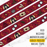 RED WIZARD WONDERLAND GOLD FOILED WASHI TAPE - WT007 - KeenaPrints planner stickers bullet journal diary sticker emoji stationery kawaii cute creative planner