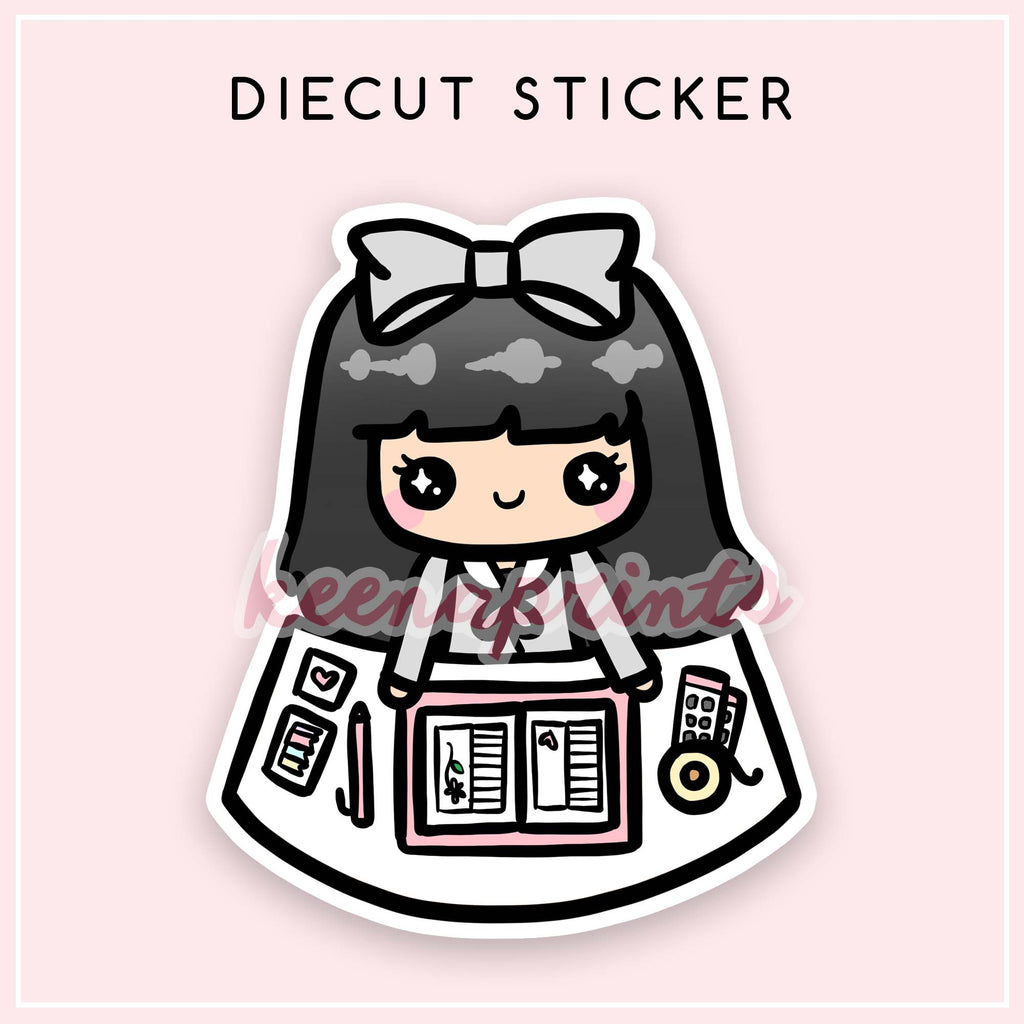 PLANNING LOLA DIECUT STICKER - DC005 - KeenaPrints planner stickers bullet journal diary sticker emoji stationery kawaii cute creative planner