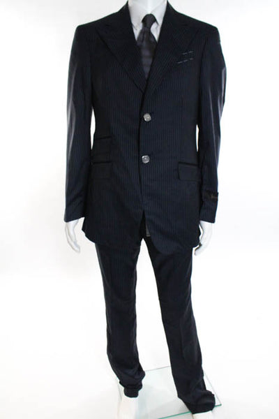 New Billionaire Blue Wool Pinstriped Two Button Pant Suit Size 38