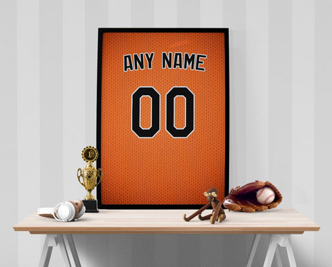 Baltimore Orioles Jersey Poster - Print Personalized Select ANY Name & ANY Number - PixArtsy