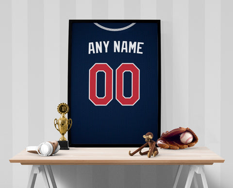 Atlanta Braves Jersey Poster - Print Personalized Select ANY Name & ANY Number - PixArtsy