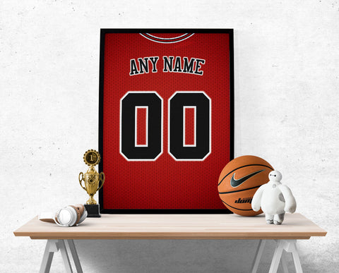 Chicago Bulls Jersey Poster - Print Personalized Select ANY Name & ANY Number - PixArtsy