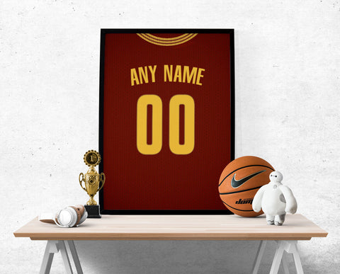 Cleveland Cavaliers Red Jersey Poster - Print Personalized Select ANY Name & ANY Number - PixArtsy