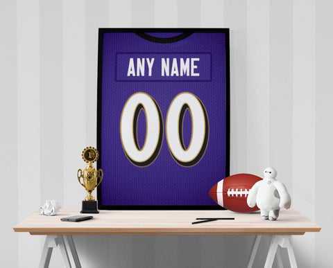 Baltimore Ravens Jersey Poster - Print Personalized Select ANY Name & ANY Number - PixArtsy