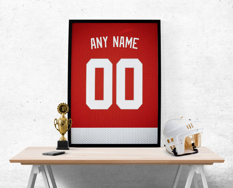 Detroit Red Wings Jersey Poster - Print Personalized Select ANY Name & ANY Number - PixArtsy