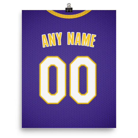Los Angeles Lakers Jersey Poster - Print Personalized Select ANY Name & ANY Number - PixArtsy