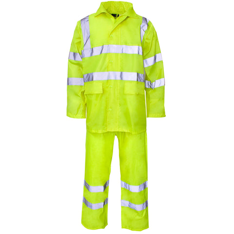 Supertouch Hi Vis Polyester/PVC Rainsuit - Yellow - Worklayers