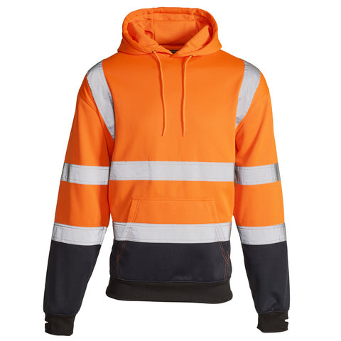 Hi Vis Sweatshirt Hooded Two Tone - Orange