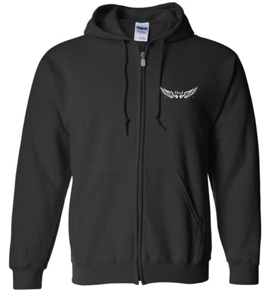 Dad Memorial Zipper Hoodie Jacket - Dad Angel In Heaven