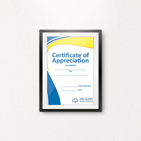 Appreciation District Manager A5 Certificate - Guides Queensland Guide Supplies