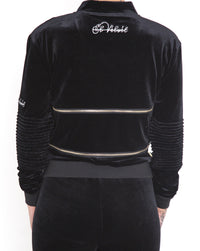 Women's Black Vélvét Full Tracksuit