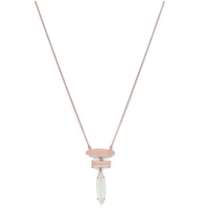 14k Rose Gold Multi Gemstone Drop Necklace