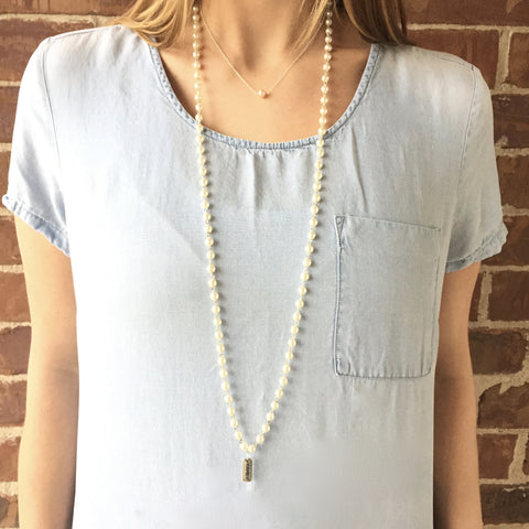 Extra Long Stone or Pearl Necklace