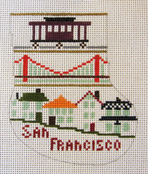 Needlepoint SF Mini Sox Ornament Canvas