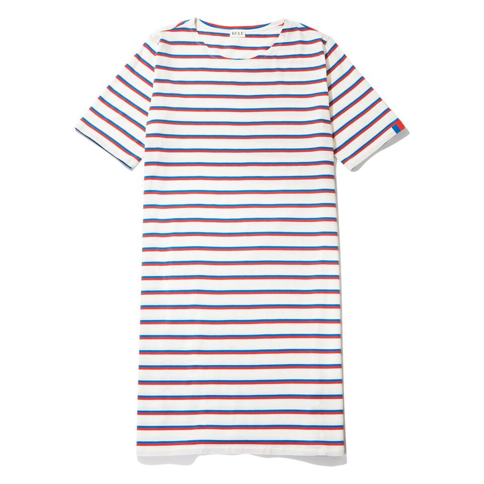 The Tee Dress - White/Royal/Poppy