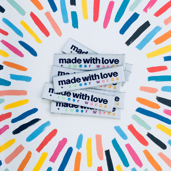 'Made With Love And Swear Words' woven labels